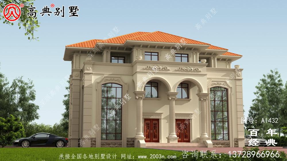 高档大气三层复式双拼欧式别墅效果图_农村三层别墅设计