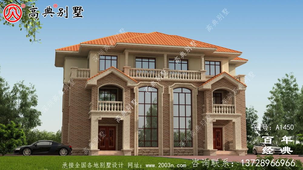 大复式三层欧式双拼别墅设计图纸及设计效果图_乡村三层别墅设计