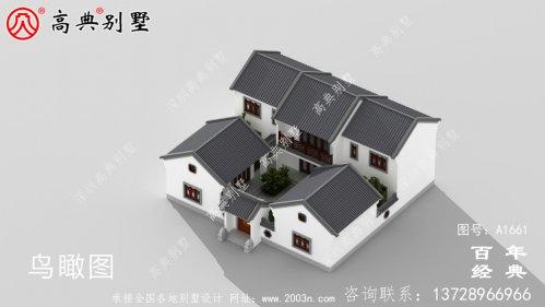 新中式四合院两层带院