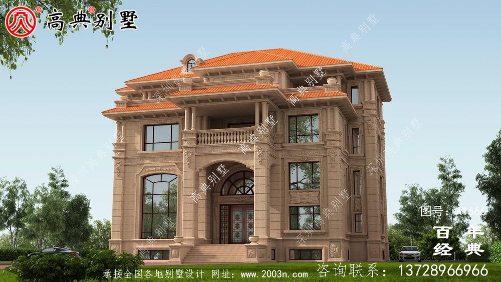 经典复式四层欧式别墅设计图纸与外观效果图_农村四层别墅设计