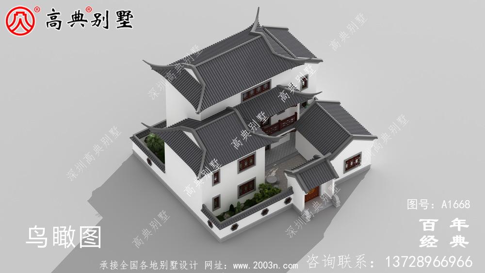 新中式三层苏式园林院子别墅设计图纸_乡村别墅工程图纸