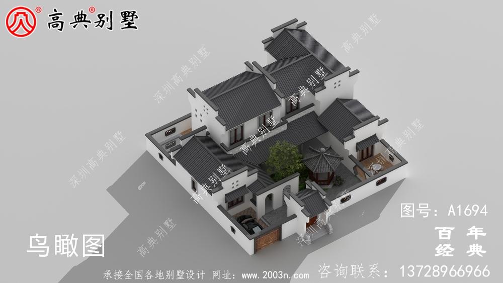 豪华两层新中式别墅设计图纸_农村四层别墅设计