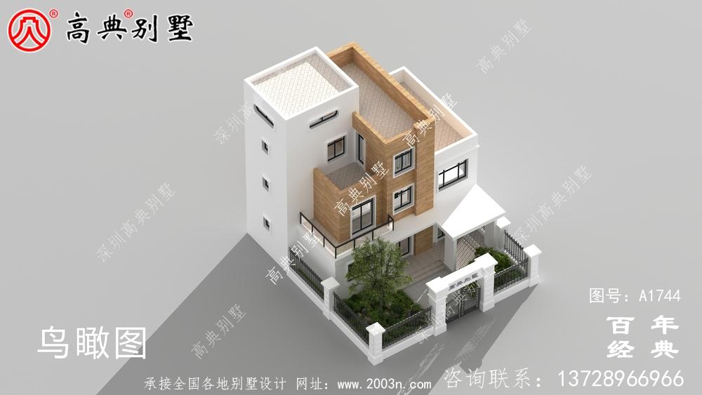 现代风四层带庭院别墅设计图纸_农村四层别墅设计