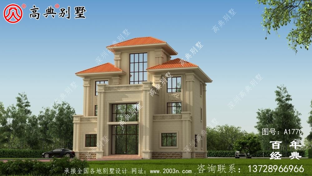 复式三层欧式别墅图纸及效果图_农村三层自建房设计图