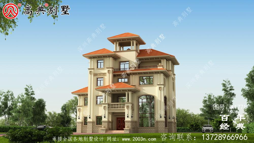 复式四层大户型欧式别墅设计图纸_农村四层别墅设计