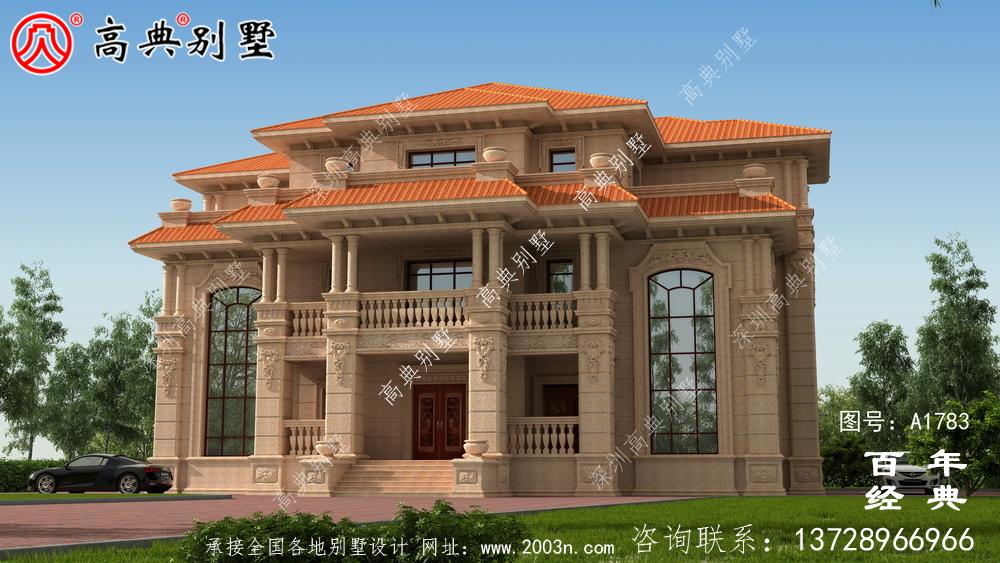 欧式三层石材复式双拼别墅图纸及效果图_农村三层自建房设计图