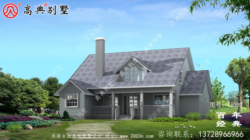 美式简约单层欧式别墅图纸及效果图_农村单层自建房设计图