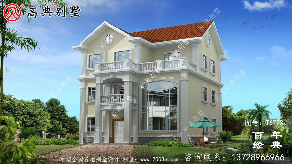 复式三层欧式别墅设计图纸及效果图_农村三层自建房设计图