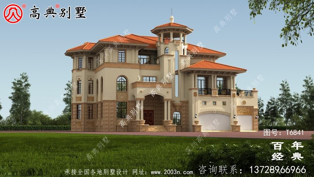 奢华三层欧式别墅图纸及效果图_农村三层自建房设计图