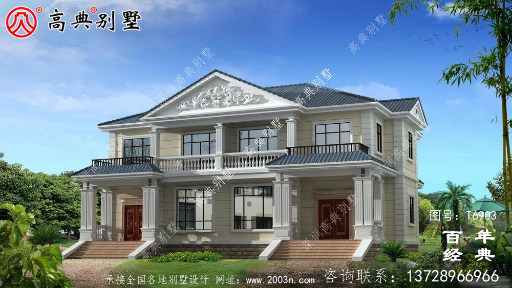 两层双拼欧式别墅图纸及效果图_农村两层双拼自建房设计图