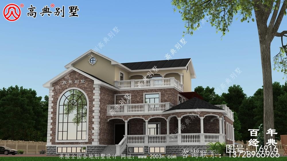 农村复式三层别墅设计图与效果图_三层乡村住宅设计图