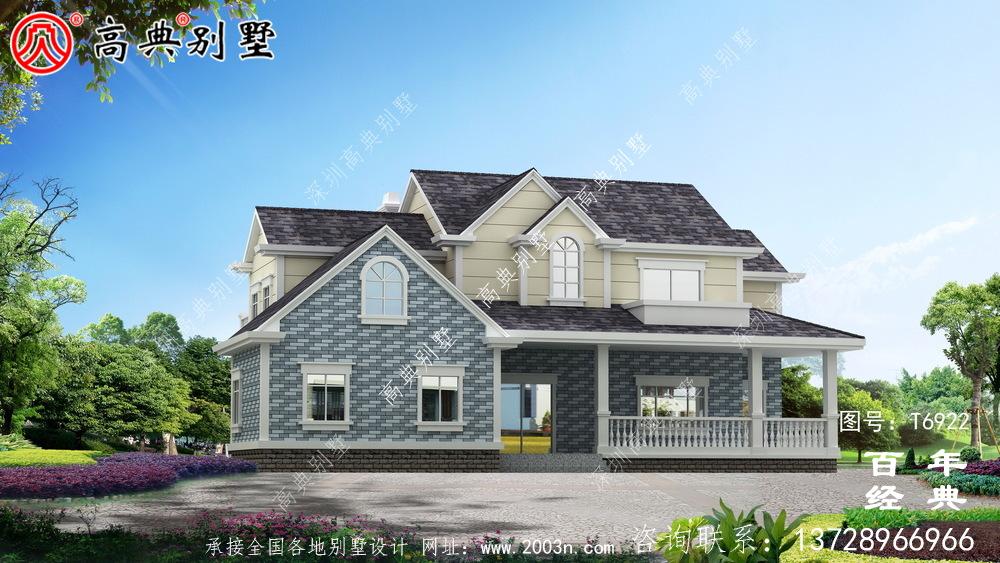美式两层欧式别墅设计效果图_两层农村房屋设计图纸
