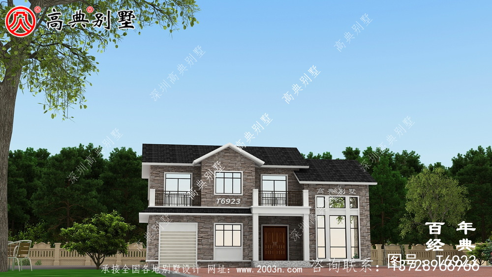 新欧式二层带露台别墅设计效果图及施工图_农村两层别墅设计图纸