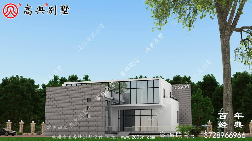 现代两层别墅外观设计图_农村别墅设计图