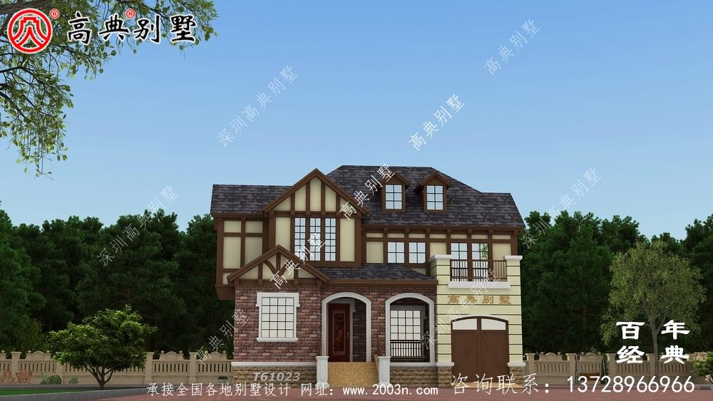 英式风两层欧式别墅设计图和效果图_乡村两层别墅设计图