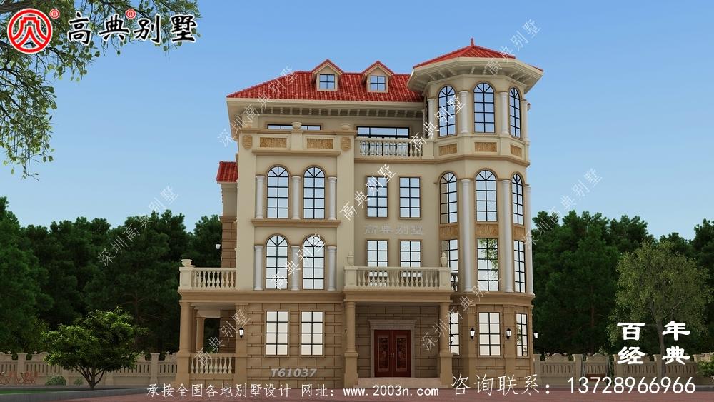 四层简欧别墅设计图纸施工图及效果图_农村四层别墅设计