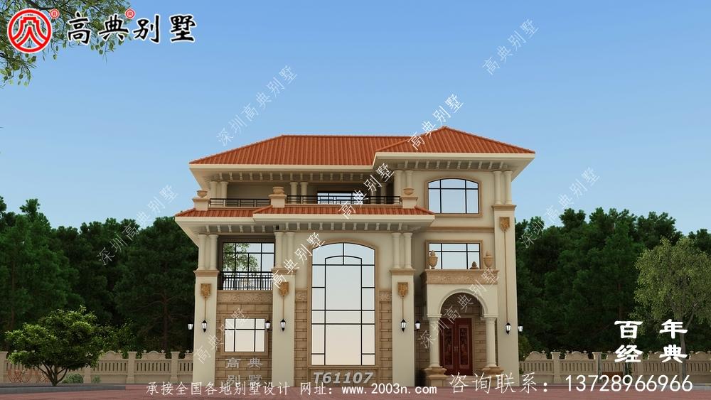 简单三层欧式别墅效果图_农村三层别墅设计图纸