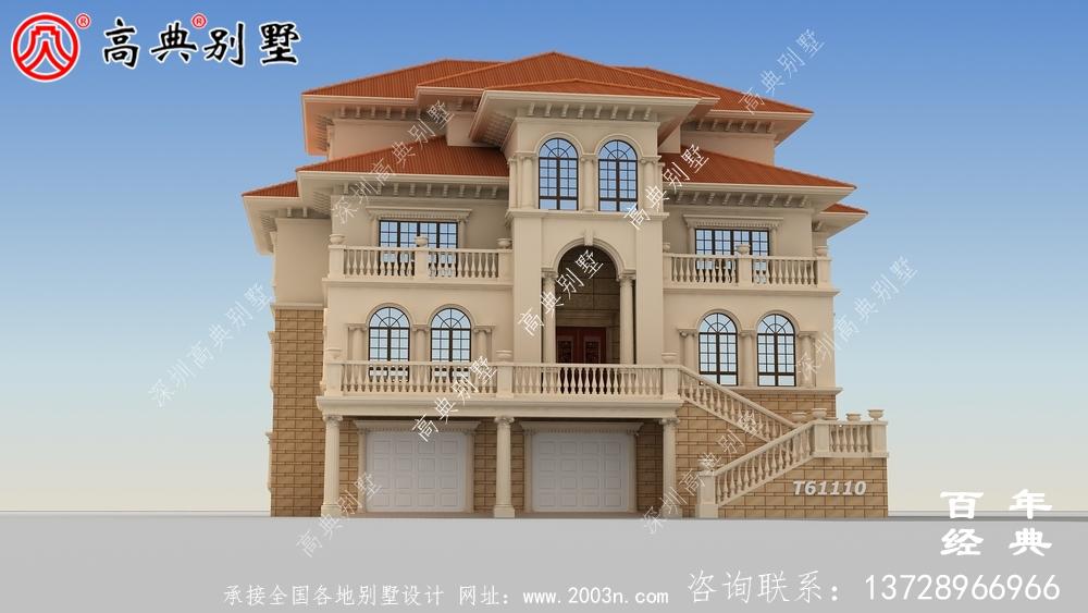 带车库复式三层别墅效果图_农村三层别墅设计图纸