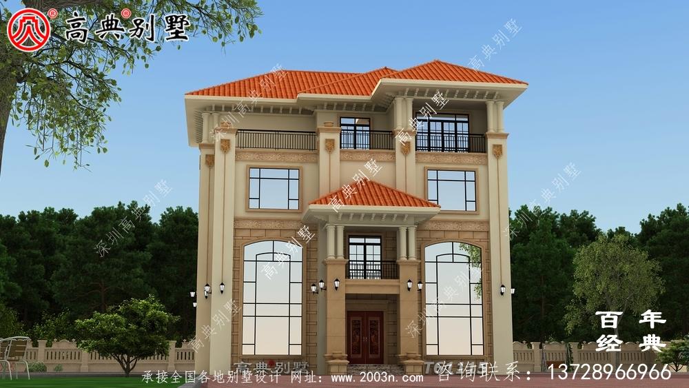 四层带露台农村自建房别墅设计图纸_农村四层房屋设计