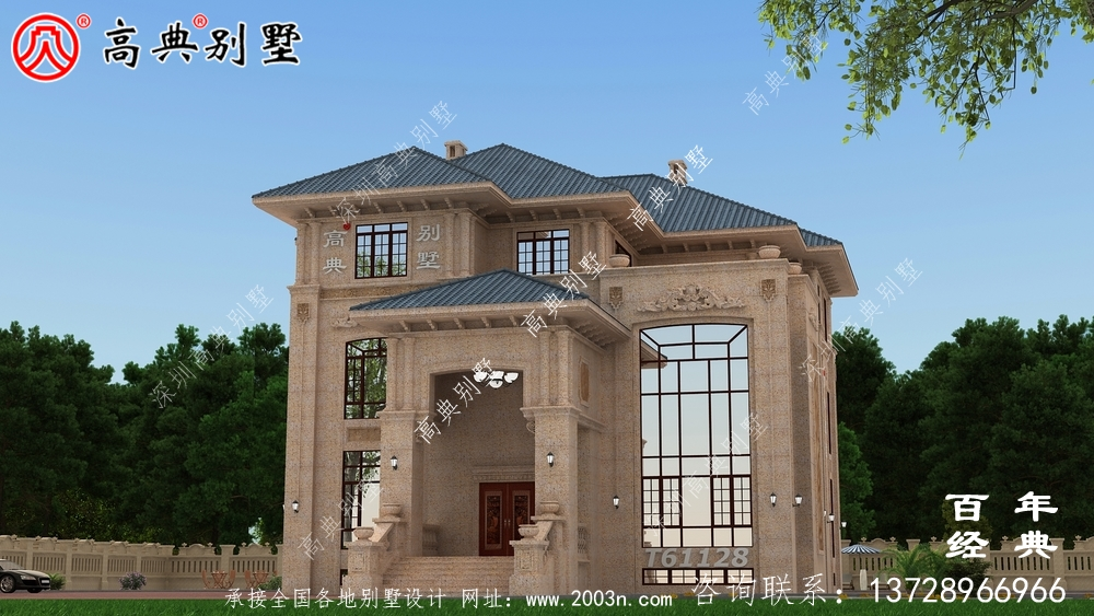 复式三层石材别墅建筑设计图纸_农村三层房屋设计