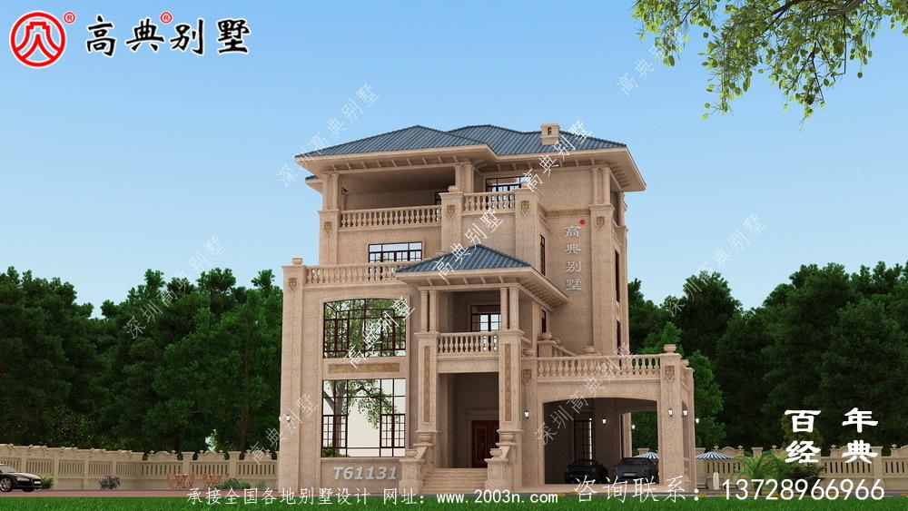 欧式四层石材别墅建筑设计图_农村四层别墅设计