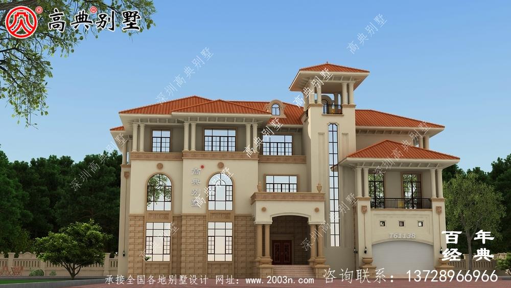 复式三层带车库欧式别墅外观效果图_农村三层房屋设计
