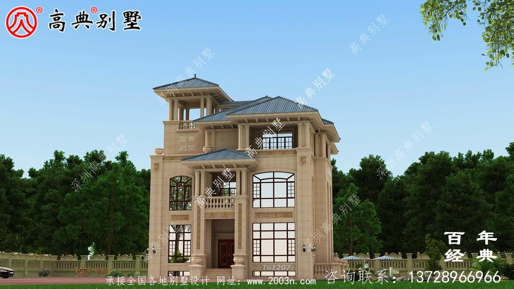 三层带露台小别墅设计施工图纸及效果图_农村房屋设计图纸