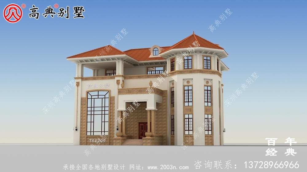 农村三层自建豪华别墅效果图_农村房屋设计图纸