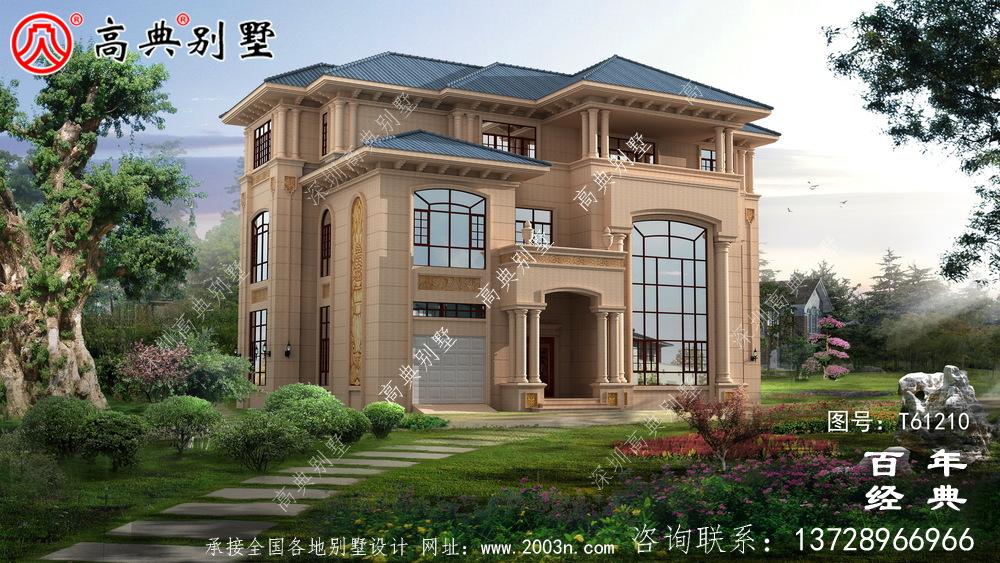 复式三层楼欧式别墅效果图_农村房屋设计图纸
