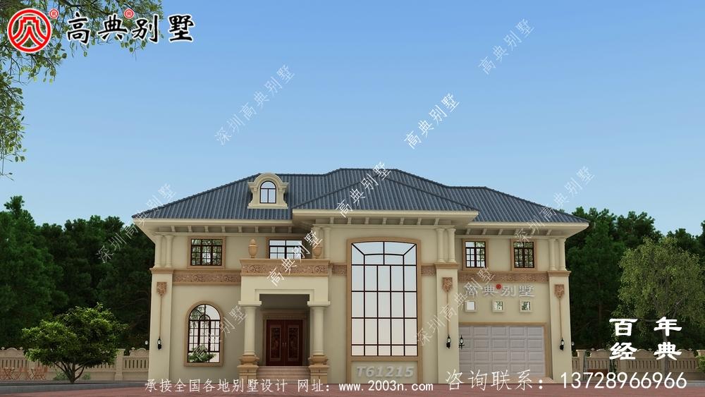 乡村两层欧式别墅效果图_农村两层自建房屋设计图