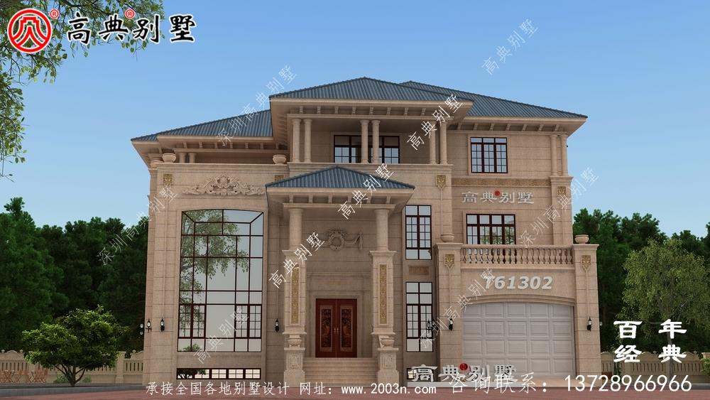 超豪华农村三层欧式别墅设计图纸_农村房屋设计图纸