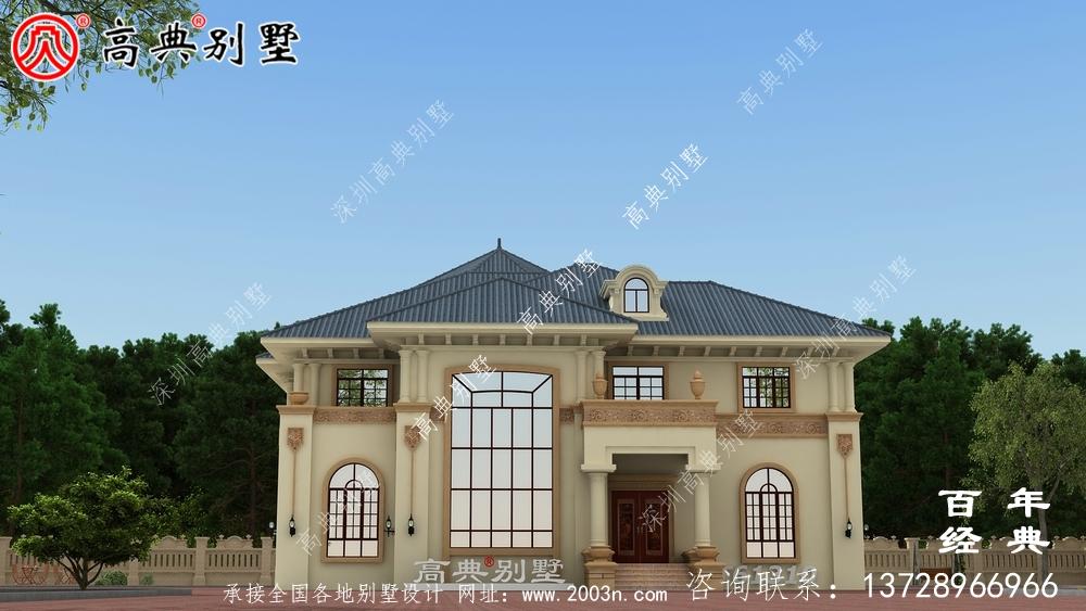 简约型两层复式欧式别墅设计图纸_农村两层自建房设计图纸