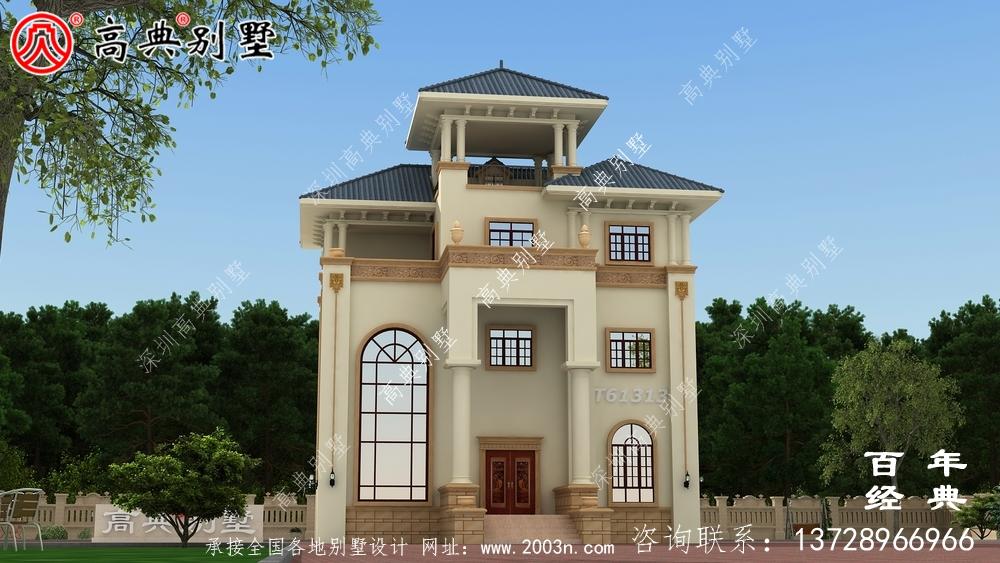 复式三层带露台别墅设计施工图纸及效果图_农村房屋设计图纸