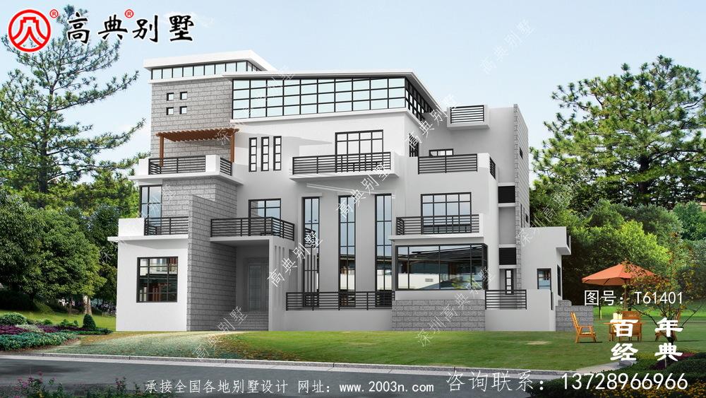 现代四层别墅外观效果图_农村四层自建房屋设计图