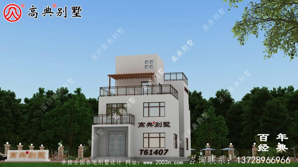 简约现代风三层别墅外观设计图_农村三层别墅设计