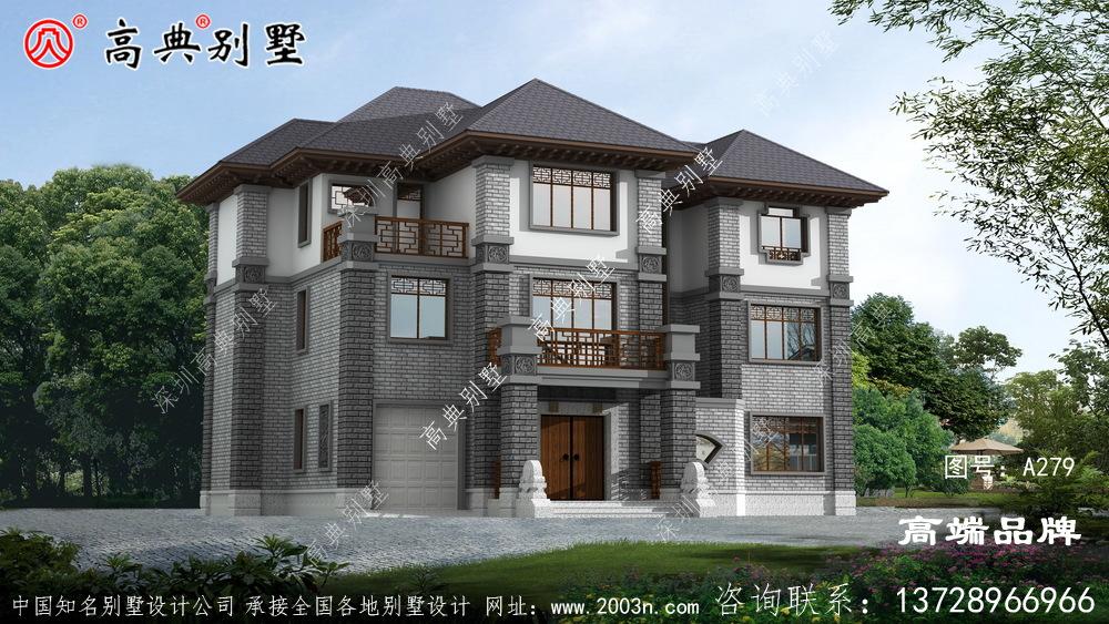 新中式三层农村别墅设计图