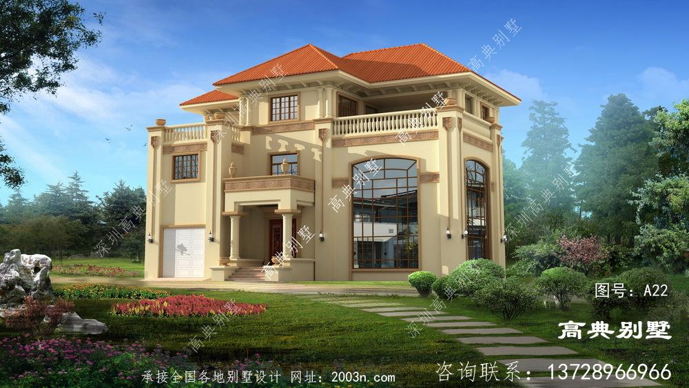 华丽欧式三层复式别墅设计图纸