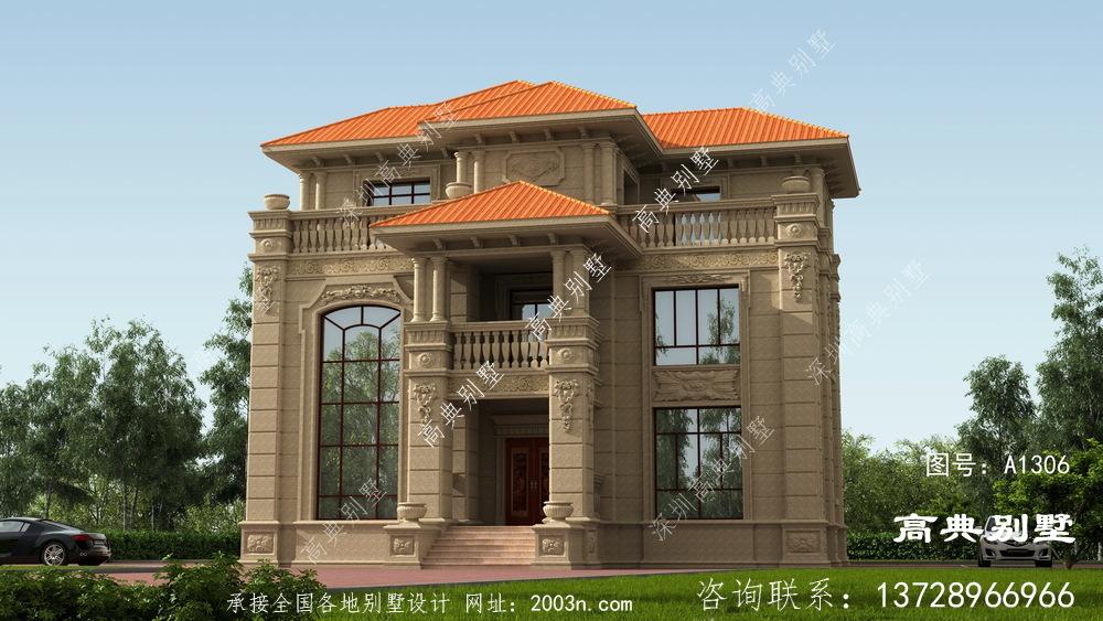 欧式三层石材别墅效果图