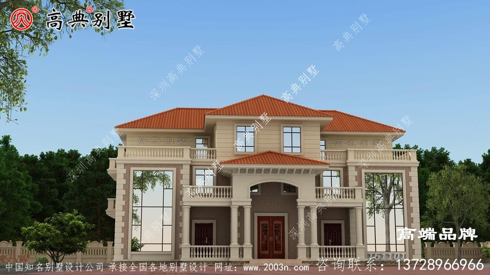 欧式漂亮三层双拼复式别墅设计效果图