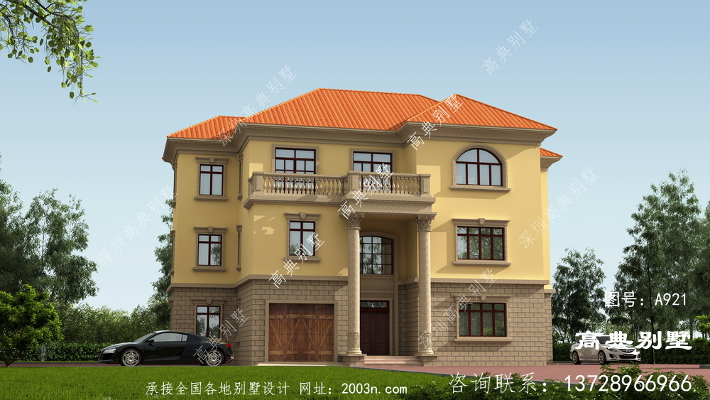 清新自然的欧式风格三层别墅设计图