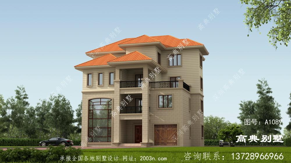 农村四层别墅设计图,外观漂亮,有阳光室