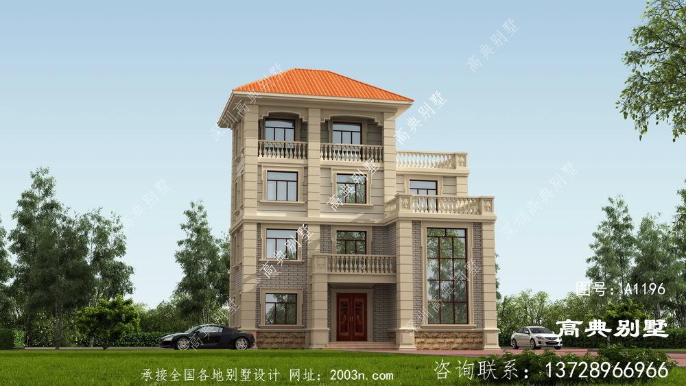 农村四楼半别墅建设设计图,外观形式独特