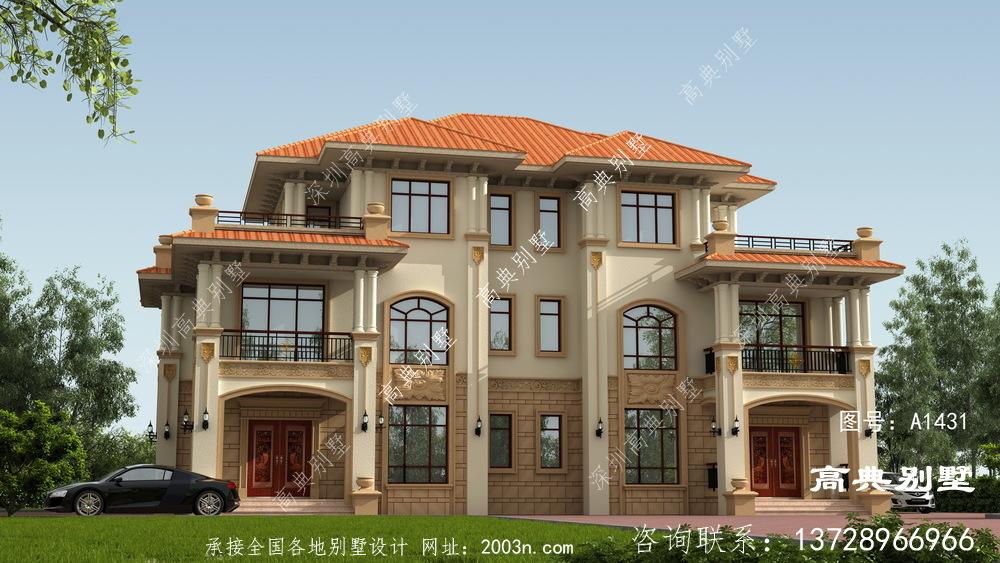 双拼欧式三层别墅外观设计效果图,占地222平