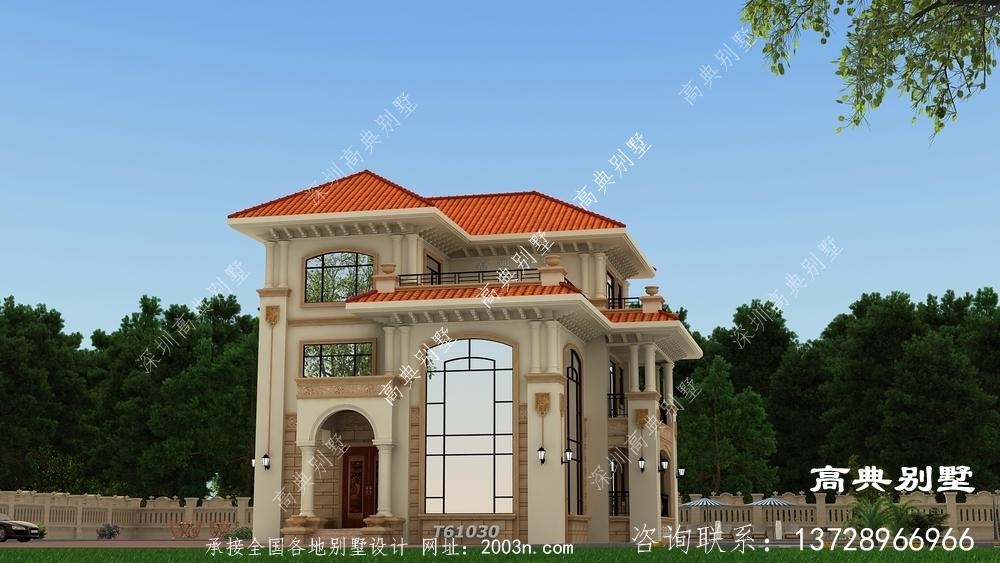 欧式典雅三层别墅设计图纸