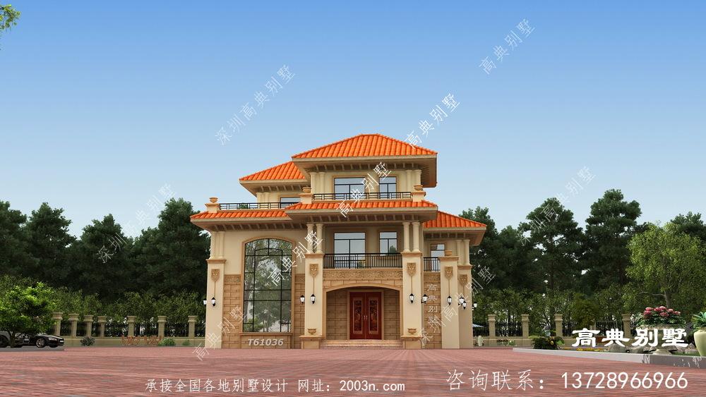 高贵华丽三层欧式别墅设计图纸及效果图大全