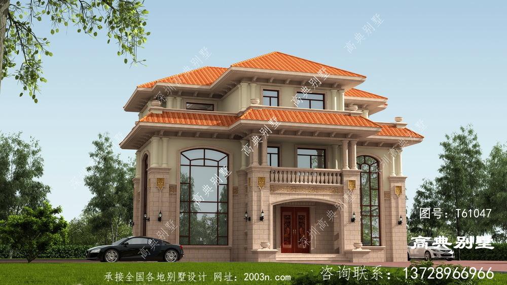 欧式风格三层别墅外墙贴石材设计图纸