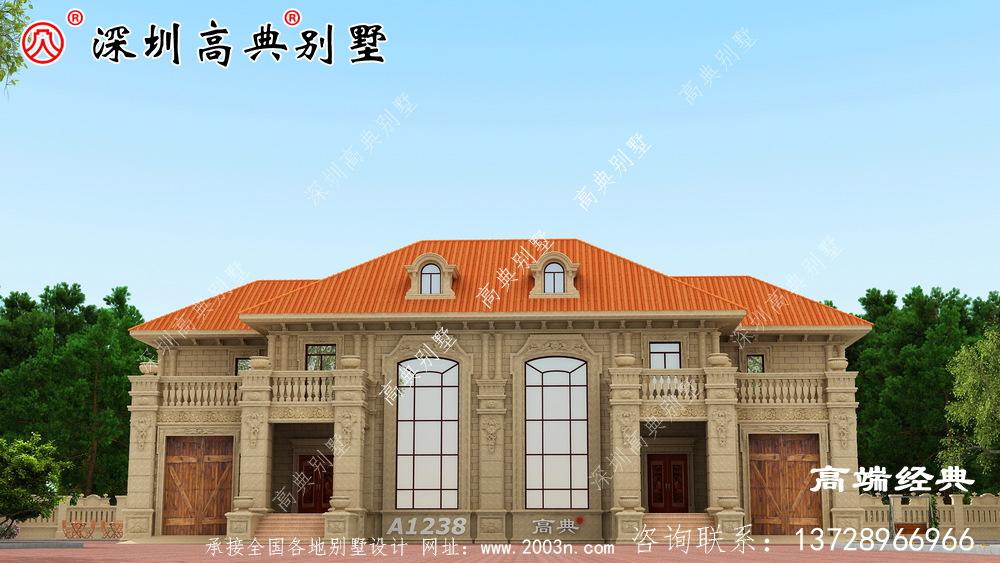 农村345平方的两层楼图,不用借钱就能建成,不能不推荐。